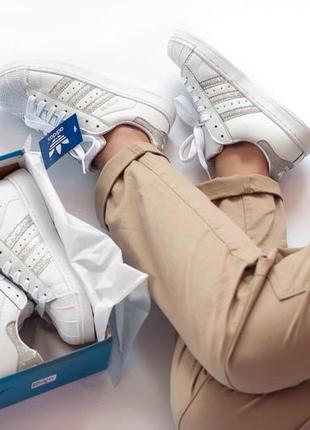 Женские кроссовки adidas superstar адидас суперстар белые