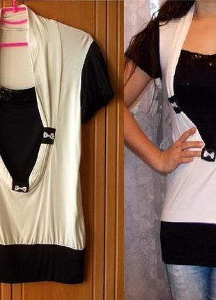Туника черно-белая  с коротким рукавом