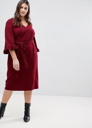 Бордовое платье миди с поясом и оборками на рукавах asos, плат...