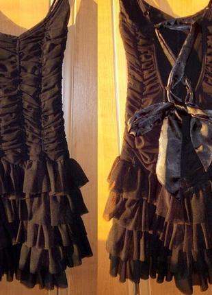Платье фатин/рюшки/бретельки/открытая спина/черное/вечернее/asos