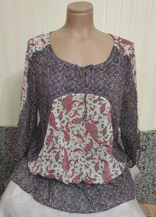 Новая шифоновая тонкая блузка блузон  большого размера