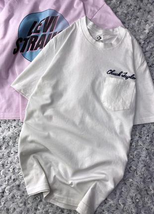 Хлопковая футболка с вышитым логотипом converse