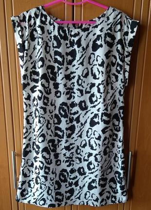 Черно-белое платье с леопардовым принтом от new look