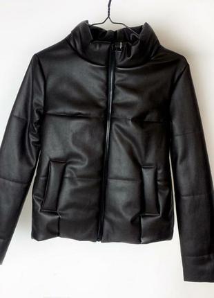 Новая ! кожаная весенняя куртка из кожзама объемная