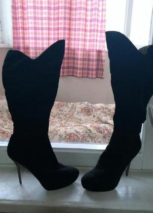 Ботфорты черные/замш/каблук с стразами