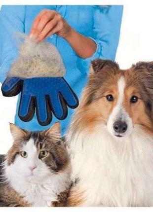 Перчатка расческа для снятия шерсти с домашних животных True toch