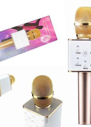 Микрофон беспроводной караоке Bluetooth Q7 с динамиком аккумул...