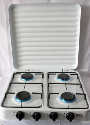 Газовая плита печь настольная на 4 конфорки таганок крышка DtS...