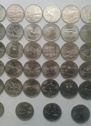 Монета 25 центов квотер США 50 Штатов Парки заповедники Америки