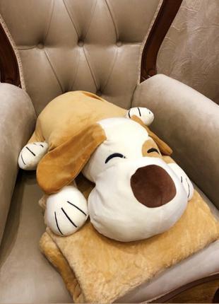 Собака мягкая игрушка с пледом