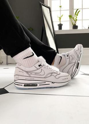 Nike air max 1 schematic white мужские кроссовки найк белые