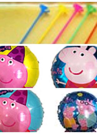 Фольгированные шарики свинка пеппа,  4 вида