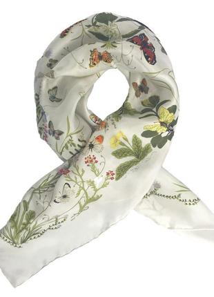 Нереально красивый шелковый платок шарф натуральный саржевый ш...