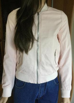 Бомбер «кожаный» пудрового цвета seven sisters размер xs