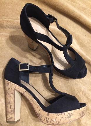 New look замшевые сандали босоножки на платформе 24-24.5 см