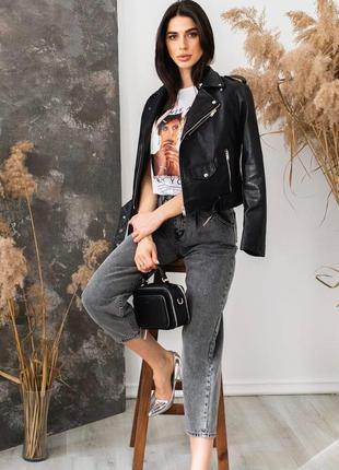 Куртка косуха из экокожи с ремнем черная косуха жіноча косуха ...