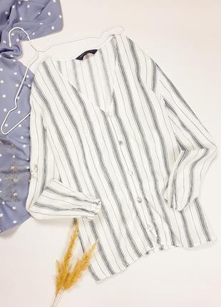 Смугаста блуза з v-подібним вирізом marks & spencer