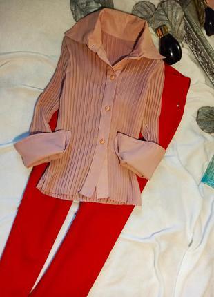 Стильная весенняя рубашка  блузка плиссе шифон