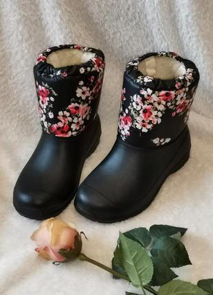 Резиновые сапоги мокроступы дутики ботинки на меху зимние разм...