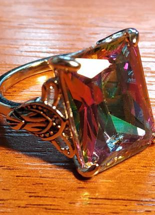 Кольцо Перстень (Стерлинговое Серебро 925) с Мистик Топазом