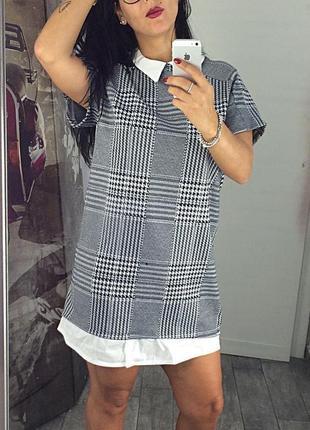 Классная туника-платье с воротничком, теплая