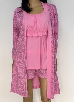 Комплект пижама с халатом для беременных и кормящих мам