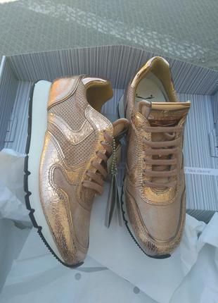 Новые кроссовки voile blanche, италия. розовое золото кожа кра...