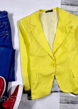 Желтый пиджак жакет блейзер со вставками леопард и красивой сп...