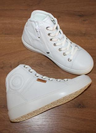 Кожаные высокие ботинки кеды ecco soft 7