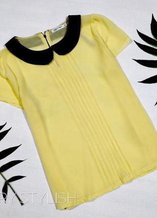 Желтая шифоновая с воротником блуза peper scrsots