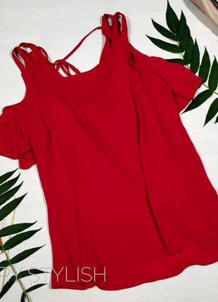 Красная блузка с открытыми плечами  peacocks