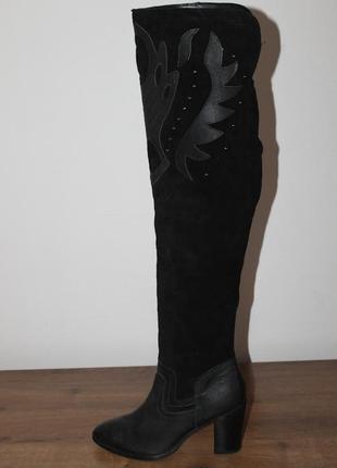 Демисезонные кожаные ботфорты new look