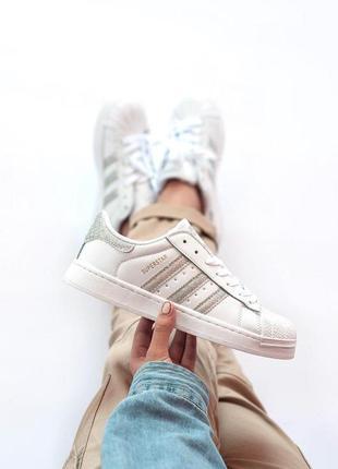 Adidas superstar кожаные женские кроссовки адидас белый цвет (...