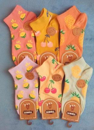 Носки женские короткие фрукты