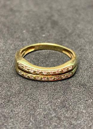 Золотое кольцо с фианитами 585 пробы. Размер 17 в ОТЛИЧНОМ сос...