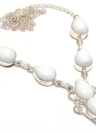 Колье белый коралл,стерлинговое серебро 925