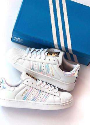 Adidas superstar кожаные женские кроссовки адидас в белом цвет...