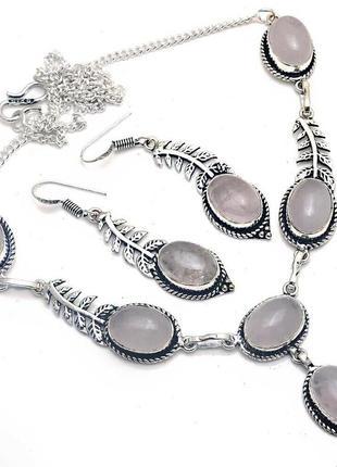 Гарнитур колье  и серьги розовый кварц,стерлинговое серебро 925
