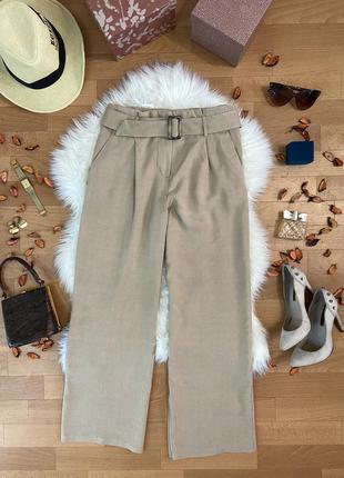 Актуальные  брюки кюлоты с поясом под лён  №260max