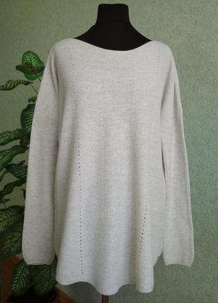Женский бело-серый нежный батал свитер opus.