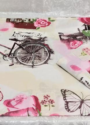 Наволочки 50х70 из плотной бязи gold  - розы с велосипедом, вс...