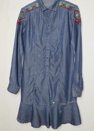 Desigual джинсоваое платье с вышивкой