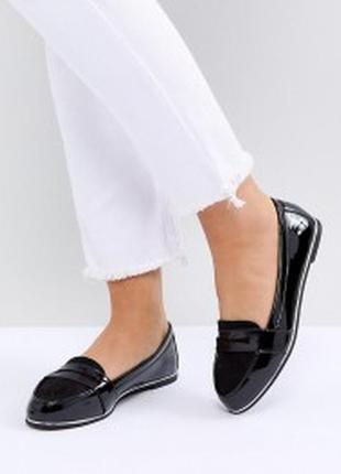 Лакированные туфли лоферы балетки new look