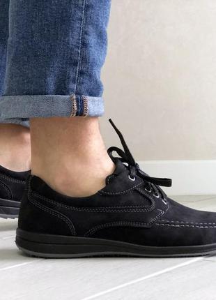 Мужские кроссовки туфли чёрные замшевые
