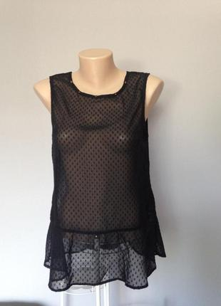 Шифоновая блуза с баской и фактурным рисунком и шипами размер ...