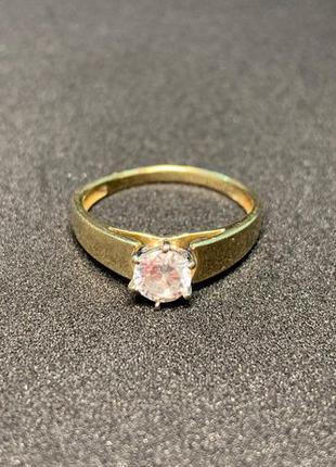 Золотое кольцо с фианитом 583 пробы. 17 размер. в ОТЛИЧНОМ сос...