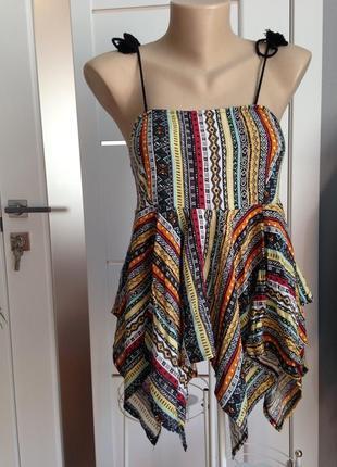 Блуза топ с ассиметричным низом в стиле этно бохо