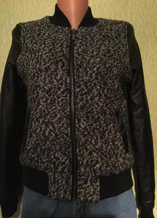 Бомбер куртка с кожаными рукавами fb sister размер s