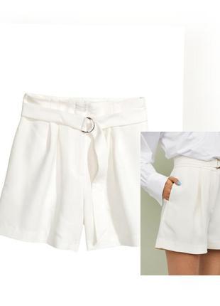 Белые шорты на талии высокая посадка широкие шортики с поясом