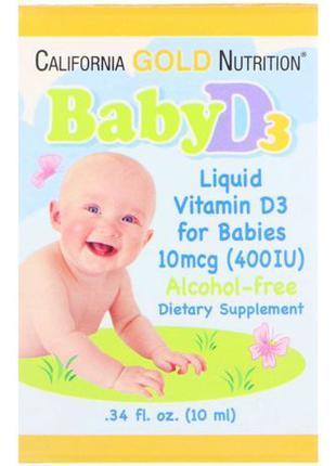 Витамин D3 в каплях для детей, 400 МЕ, 10 мл California Gold N...